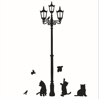 Removable Black Lamp Cat Bird Wall Sticker Mural Decal Adhesive Home Decor (Bird Wall Stickers)