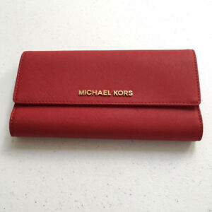 Michael Kors Saffiano Leather Checkbook Wallet (Red) - Very New