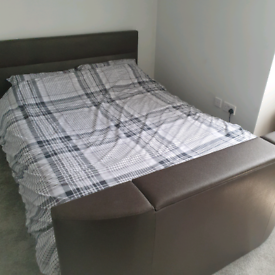 King-size Leather TV Bed with Mattress