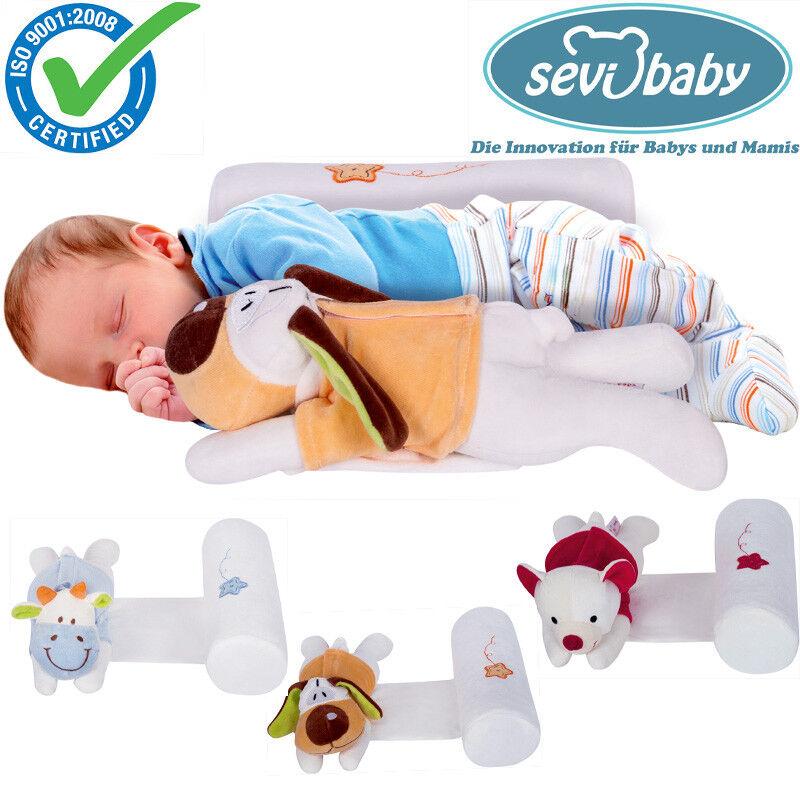 Sevibaby Baby Kopfkisssen Seitenlagerungskissen mit Kuscheltier Kissen 9366 HUND