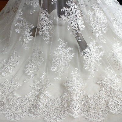 White Tulle Fabric (Lace Tulle Embroidery Floral Fabric Wedding Bridal Dress White Comfy Fairy)