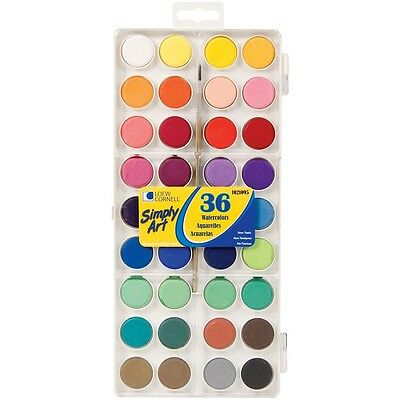 Loew-Cornell S1021095 Simply Art Watercolor Paint Cakes 36/Pkg Assorted Colors