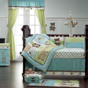 Toyland - 4 piece crib set, lamp, curtains, mobile and more.
