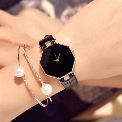 New Fashion Women 's Leather Band Analog Quartz Diamond Wrist Watch Watches