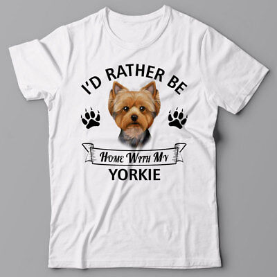 Yorkshire-terrier-t-shirt (YORKSHIRE TERRIER T-shirt - I'd rather be home with my Yorkie - dog Tee shirt)