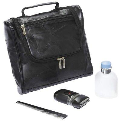 Embassy Genuine Lambskin Leather Black Toiletry Travel Bag