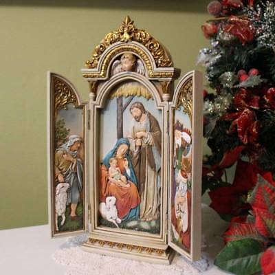 - Nativity Scene Tryptych 12.75 inch Tall Ornate Cabinet Doors Angel Wall Plaque