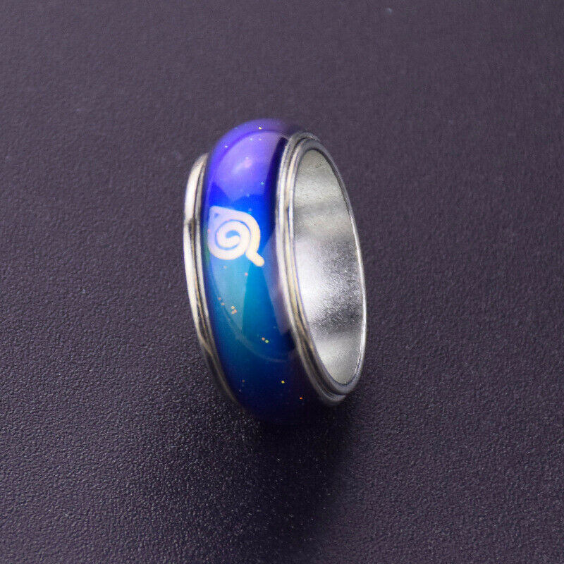 Naruto Konoha Leaf LogoTemperature Color Changing Ring Necklace Cosplay Jewelry