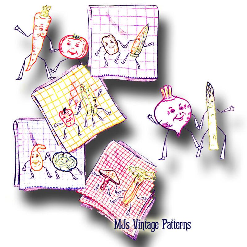Vintage Veggie Pairs Embroidery Pattern