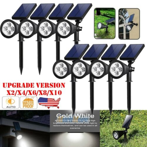 10x Solar Power 4 LED Spot Lights Waterproof Outdoor Landsca
