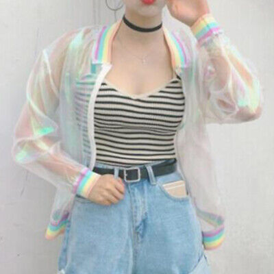 Women's Holographic Jacket Casual Laser Bomber Coat See Through Baseball Tops