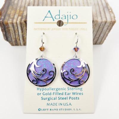 Adajio Earrings Sterling Silver Hook Shiny Silver Ribbons on Rich Purple (Sterling Silver Ribbon Earrings)