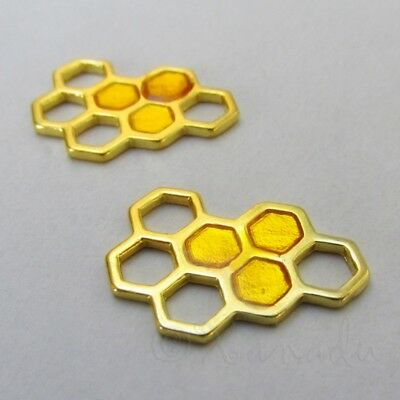 Honeycomb 24mm Gold Plated Enamel Honey Bee Charms C1384 - 2, 5 Or -