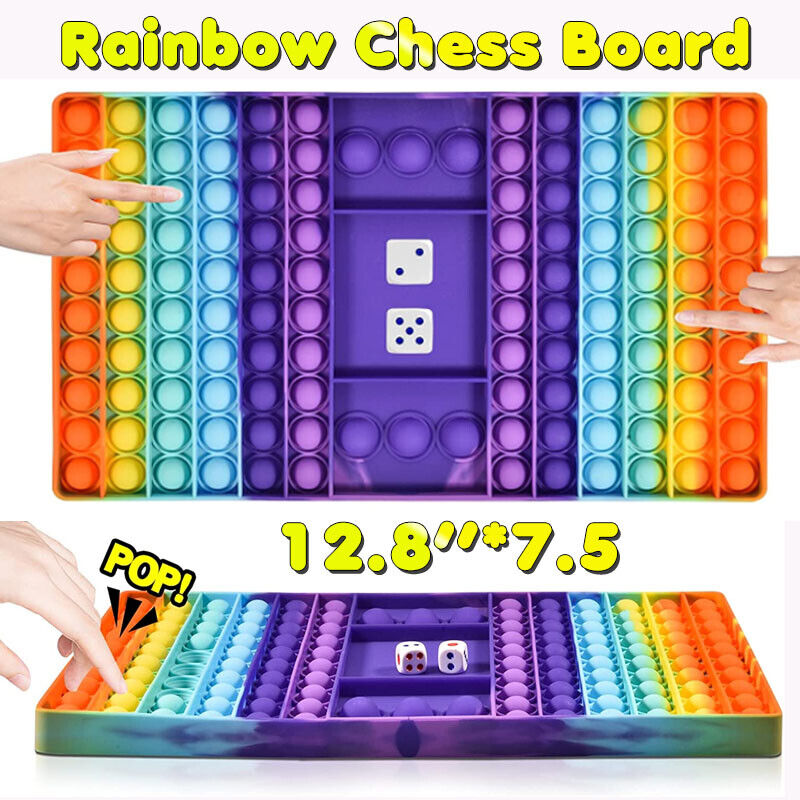Jumbo Big Size Push Popit Game, Rainbow Chess Board Bubble Fidget Sensory Toys