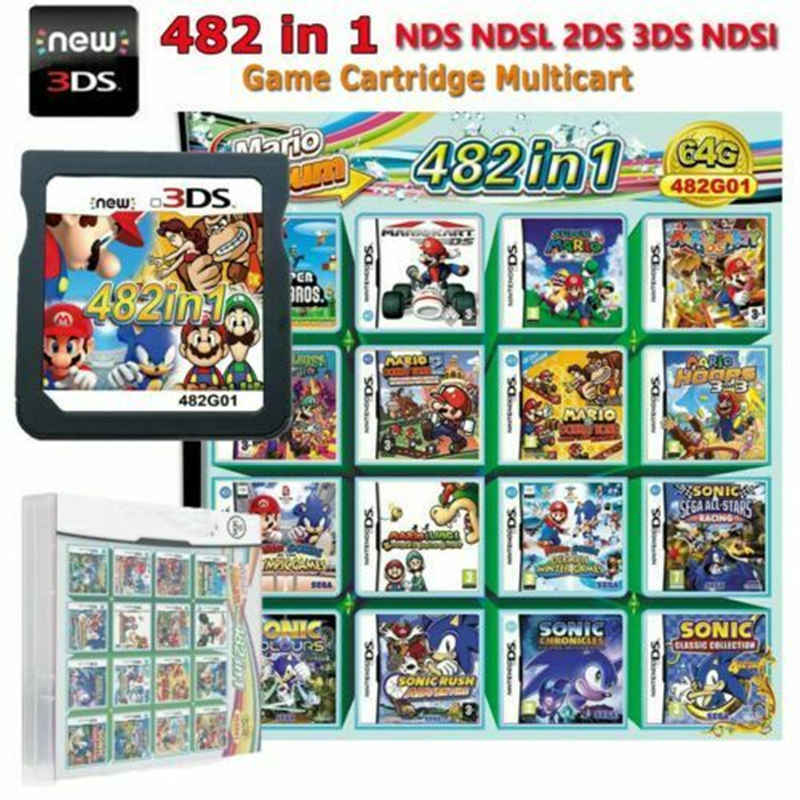 482 in 1 Game Card Cartridge Multicart for Nintendo DS Lite NDSi 3DS 2DSXL Mario