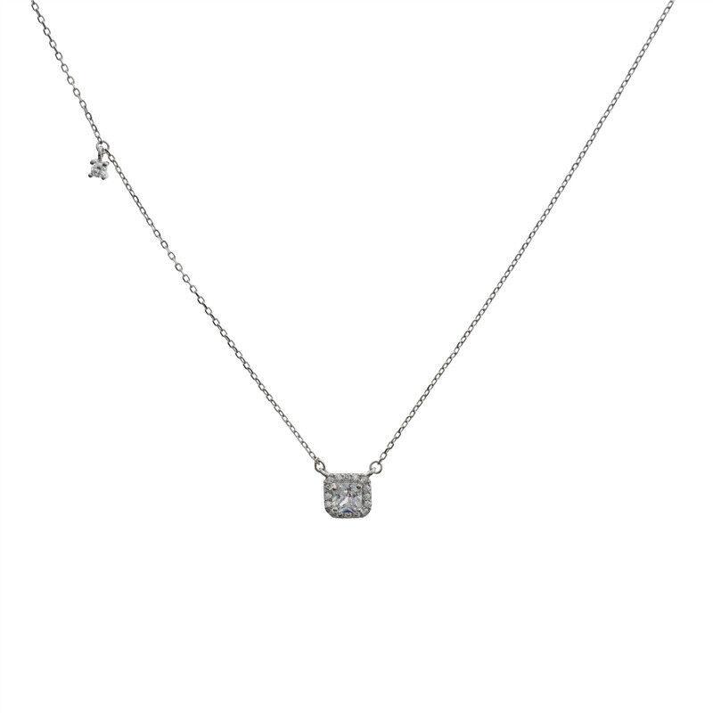 Woman S925 Sterling Silver Simulate Diamond Square Pendant Choker Chain Necklace