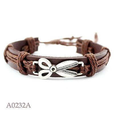 Brown Leather Cord Bracelet - Scissors Hair Dresser Stylist Brown Leather Cord 7.5