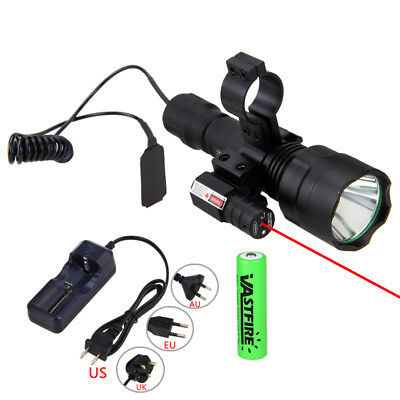 Tactical 5000LM Scope Mount Light Lamp Red Dot Laser Beam Gun Air Rifle Torch (Rifle Light Mount)