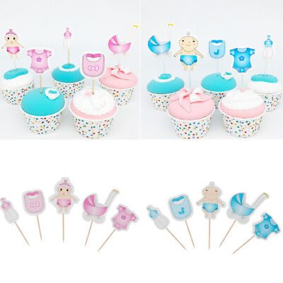 20Pcs Baby Shower Boy Girl Cupcake Toppers Gender Reveal Party Decoration Favors - Baby Boy Cupcake Toppers