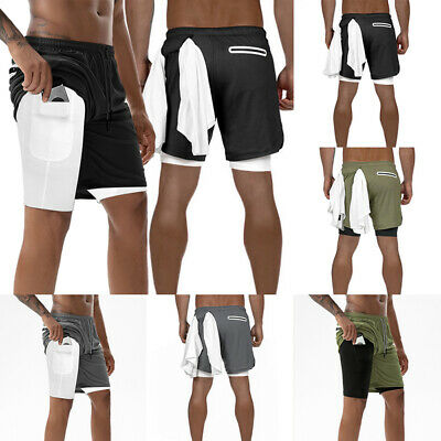 Men's Running Sport Shorts Stretchy with Built-in Pocket Lin