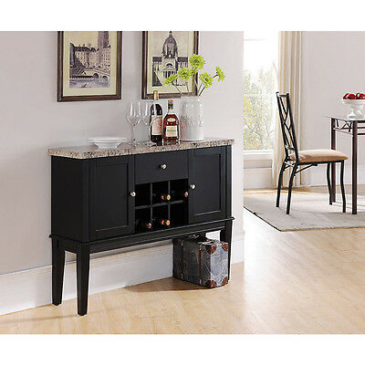 بوفيه جديد Kings Brand Marble Finish / Black Breakfront Buffet Wine Storage Console Table