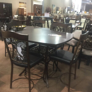 LEATHER/WOOD /WROUGHT IRON DINING SET