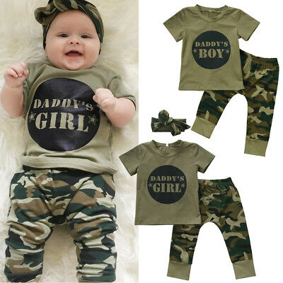 US Boutique 3Pcs Newborn Baby Boys Girls Camo T-shirt Tops Pants Outfits Clothes