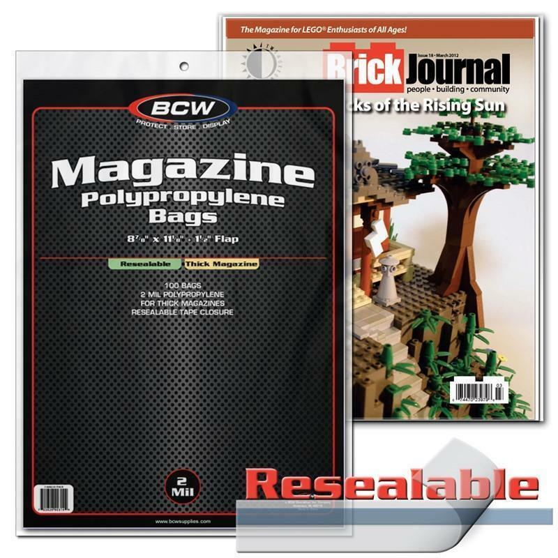 100 BCW RESEALABLE THICK MAGAZINE ACID FREE ARCHIVAL 2MIL POLY BAG COVERS