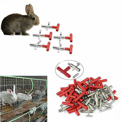 50 Sets Automatic Nipple Water Feeder Waterer Drinker For Rodents Bunny Rabbit