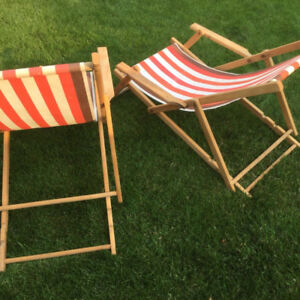 Vintage 1940s striped lounge patio lawn chairs