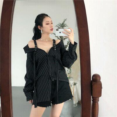 Kawaii Clothing Shirt Off Shoulder Stripped Straps Harajuku Ulzzang Japan Black