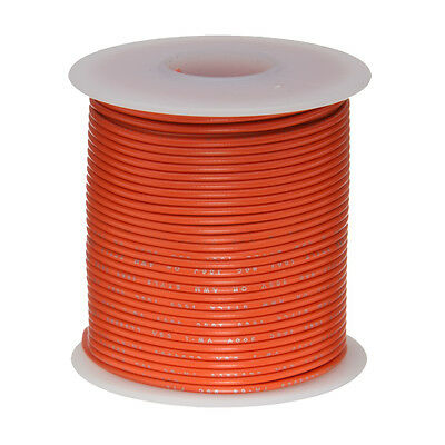 22 Awg Gauge Stranded Hook Up Wire Orange 100 Ft 0.0253 Ul1007 300 Volts