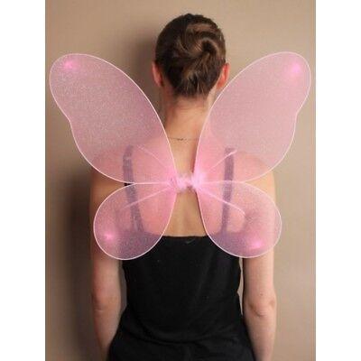 Rosa Engel Flügel Kostüm (Flügel  Engel Schmetterling Fee Kostüm Schmetterlingsflügel rosa silber Glitter)