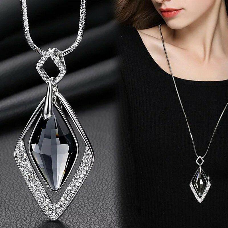 Women Hollow Gold Silver Glass Charm Pendant Necklaces Long
