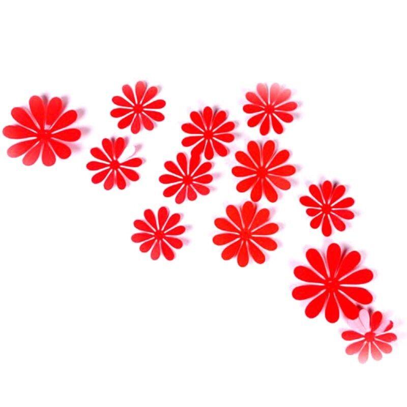 Home Girl Bedroom Decor 12Pcs Removable 3D Sun Flower Decal Vinyl Wall Sticker