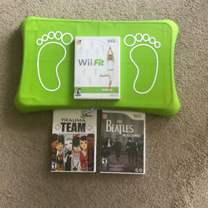 WII BOARD, WII FIT, AND 2 OTHER GAMES FOR SALE!