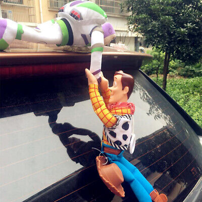 Funny 3D Toy Story 4 Sherif Woody And Buzz Car Doll Outside Car Hanging toy Cute