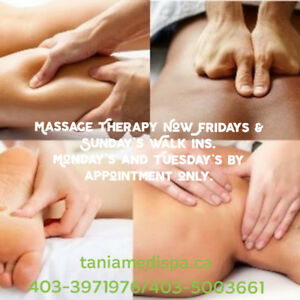 Friday's and Saturday's Massage $85