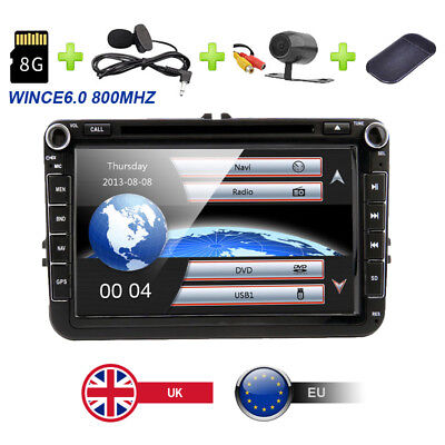 "8"" Car Stereo SatNav GPS Radio DVD For VW Golf MK5 MK6 Passat Jetta EOS Fabia UK"