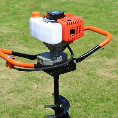 52cc 2-stroke Air-cooled Gas Powered Post Hole Digger Auger W 4 6 8 Bits