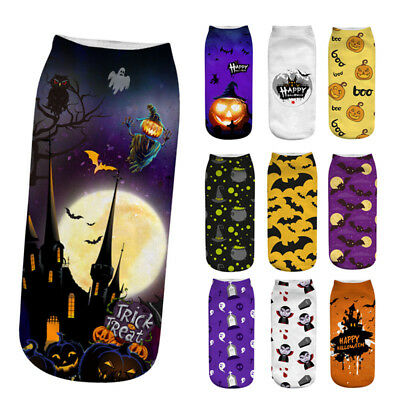 Halloween Socks Low Cut and Crew Style Owls Witches and Pumpkins YOUR CHOICE