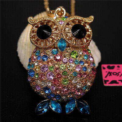 New Cute Colorful Crystal Big Eye Owl Betsey Johnson Pendant Sweater Necklace