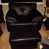 Large, black chair and ottoman, $120