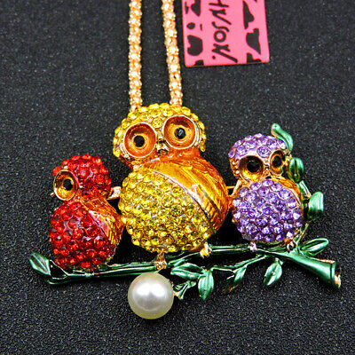 Colorful Enamel Crystal Lovely Pearl Owl Betsey Johnson Pendant Chain Necklace