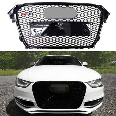 RS4 Style Sport Gloss Black Mesh Front Grille For 13-16 Audi A4 S4 B8.5