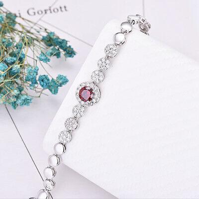 Platinum Plated Charm - Classical Round Natural Red Garnet Zircon Gems Platinum Plated Charm Bracelets