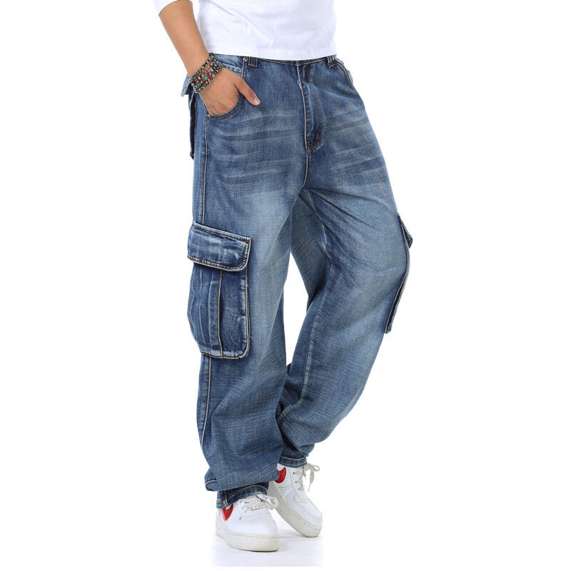 e35e214c94e03b ... Mens Jeans Relaxed Fit Cargo Pants Big Tall Loose Style Rugged Plus  Size 30W-46W ...