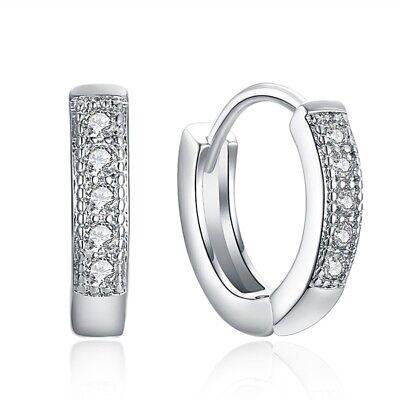 - Charm Crystal 925 Sterling Silver Stud Hoop Earrings Eardrop Women US Jewelry