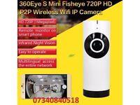 HD 180° Panoramic Cameras WIFI IP Fisheye Smart Home Security Motion Detection 2-way Audio