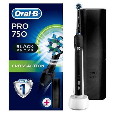 Oral-B Pro 750 Elektrische Zahnbürste Black Edition inkl. Reiseetui, Timer